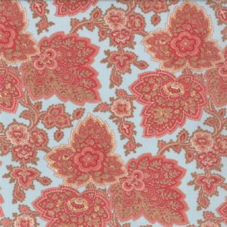 Moda Lario - 2536 - Floral Leaf Print on Pale Blue Background - 100% Cotton Fabric